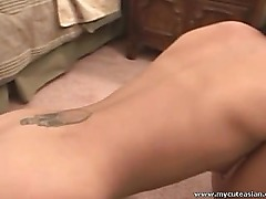 Asian babe sucking her BF cock