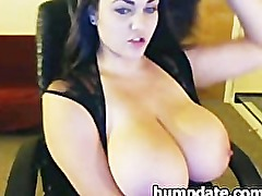 Beautiful brunette with massive tits teasing