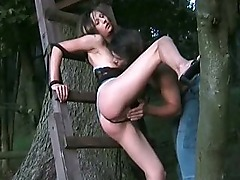 Tied to a tree & power fucked