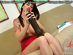 HUGE DILDO FUCKING Behind The Scene BUSTY Amateur Angie Noir