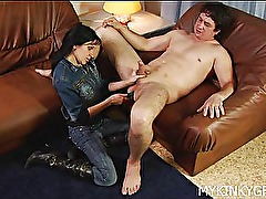Hot girl fucks dudes ass with strap-on