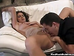 wild brunette amateur sucks cock and does anal without hesitation