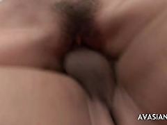 Hairy Asian In Stockings Loves Getting Pounded