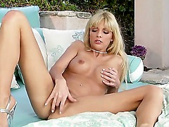 Mesmerizing Jana Jordan with cute eyes and truly amazing backside tries to masturbate tonight. She takes herself on the sofa masturbating that sweet pink pussy! Awesome slut!