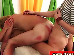 Twink amateur with tight ass fucked double penetration
