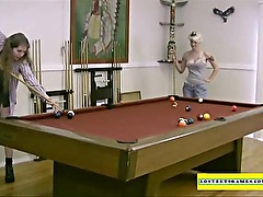 Amateur girls playing strip pool
