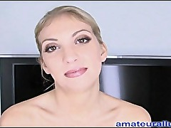 Amateur Blonde Deep Throats Cock And Swallows Cum