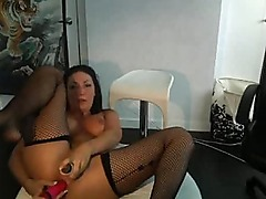 Hot Webcam Girl In Corset & Stockings Masturbating