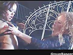 Two amateur sluts enjoying in hot group