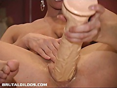 French Canadian amateur rides brutal dildo