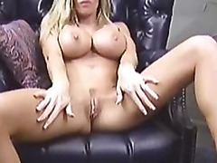 Busty amateur Tera jerking her pussy