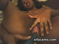 Ebony toying and squirt webcam!