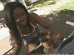 African Outdoor Handjob Honey