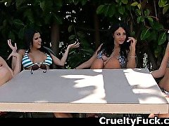 Amateur Women Handling One Dick Together At Patio Party