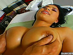 Eva Angelina hooks up with a blue haired guy whos one of her biggest fans, and she takes him to her favorite massage parlor where they teach him how to massage her curvy body...