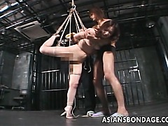 Amateur Japanese chick bound and suspended from ceiling