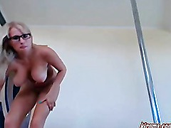Charming blonde fingers her wet pussy. HOT!