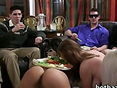 Three amateur girls lesbosex in a show while the others are watching