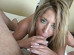 Handsome dude Manuel Ferrara gets his dick hard on when seeing a passionate and hot blonde babe Sheena Shaw with amazing body playing with her shaved taco and giving him a head.