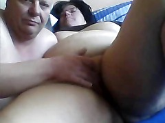 Horny fat amateur wife gets her swollen pussy rubbed by hubby