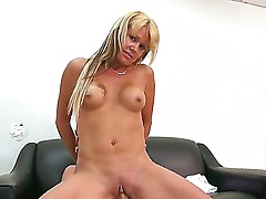 Cheep looking amateur blonde Jenny Hamilton with small firm boobies and long hair rides on young horny dude with long stiff pecker and gives him head at her first interview.