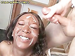 Black Babe Painted with White Cumload
