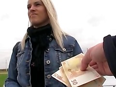 Blonde amateur is convinced to have sex in the public toilet