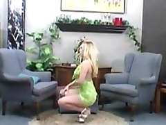 Busty amateur Cheri playing her pussy with her green toy