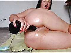 Big Tits Brunette Anal Toying And Fisting