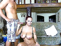Busty bitch Domino rubs her amazing and huge boobs and sucks a big amateur dick