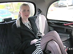 Long legged British blonde in fake taxi