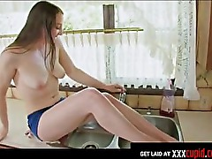 Horny Housewife Cums in the Kitchen Sink