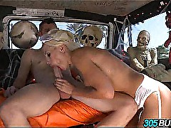 Fucking random guys on Halloween blonde Puma Swede.6
