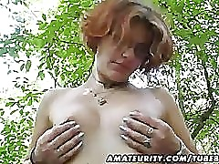 Amateur girlfriend toys and sucks outdoor with facial cumshot