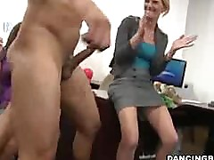 Horny party girls suck off strippers