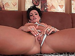 Hard nippled soccer mom fucks her pussy and ass with dildos