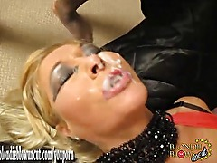 Blonde bukkake sluts use their faces as targets for big cocks and hot spunk