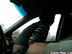 Slut Takes A Load In The Car
