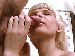 Blonde and slim amateur babe Loly with small and perky tits and shaved pussy enjoys in sucking and licking a meaty dick on her knees in bathroom in bathtub and has fun in hot sex.