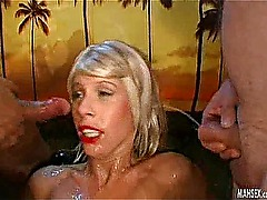Blonde girl gives double blowjobs on big cocks