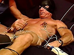 CBT Extreme electrostim on mature muscular and hung dude using my homemade device