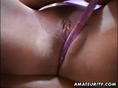 Amateur girlfriend toys her pussy and sucks cock