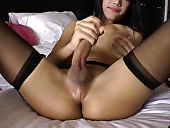 Ladyboy amateur tugging in lingerie and cant get enough