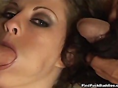 crazy amateur brunette cant get enough cock in this gangbang