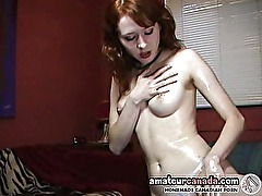 Oily amateur wet and messy redhead exgf