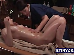 Erotic asian massage kissing and touching