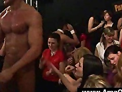 Amateur honey gets tight cunt nailed by a stripper at an orgy