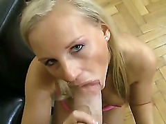 Amateur blonde in pink lingerie Barbie D gets something special from Rocco Siffredi