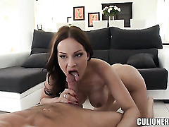 Abbie Cat with juicy bottom polishes rock hard love stick like craze before dude shoots his load