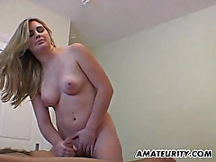 Busty amateur girlfriend handjob with cumshot